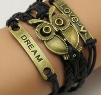 Wholesale Fashion Handmade Braided Bracelet Leather Rope Chain Charm Wrap Bracelets Bangles For Women Men Jewelry Love Dream S9089
