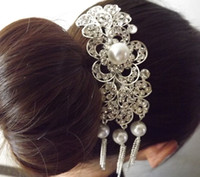 Other Fashion Hairwear Crystal Pearl Tassels Hair Comb Wedding Rhinestone Hair Jewelry Bride Accessories Hairwear Bridal Jewelry Hair Fork Z-03