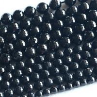 Cheap Stone Black Tourmaline Beads Best Hearts, Love Black Round Black Tourmaline
