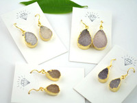 Wholesale 5pair Top quality Natural Crystal Quartz Druzy Drusy Stone Jewelry Drop Earrings Gem Stone Gold Plated Hook Earring Jewelry