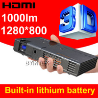 Wholesale New Built in Battery ANSI P Portable LED Full HD x800 D to D DLP Shutter D mini Projector Blu Ray HDTV Xbox PS3