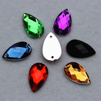 Wholesale 8x13mm Droplet Shape Crystal Clear Color Acrylic rhinestone Sew on Acrylic Flatback with Holes