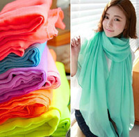 Wholesale The new pure color cotton and linen scarf autumn and winter Long large shawl