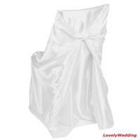 Wholesale white satin self tie chair covers universal chair cover