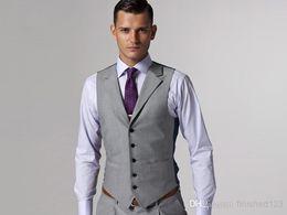 Hot Sale Light Grey Formal Men's Waistcoat New Arrival Fashion Groom Vests Casual Slim Fit Vest NO:82