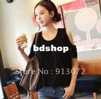 Women women's T-shirts - ST006 New Fashion Women s short sleeve sexy T shirt Strapless off the shoulder black shirts round neck short sleeve brand design