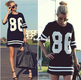 Wholesale New Summer Women Celebrity Oversized American Baseball Tee T Shirt Top Robe manches courtes manches courtes noir M L XL LQ4354