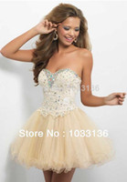 Cheap Free Shipping Woman Special Occasion Sweetheart Mini Short Crystals Appliques Vestidos De Fiesta Under 50 Prom Dresses Cocktail