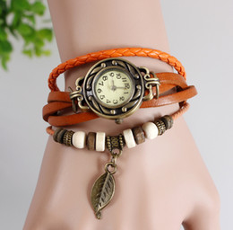 2015 2016 2017 New Vintage Retro Leaf Leather Strap Roma Number Dial Woman Watch Bracelet 200pcs