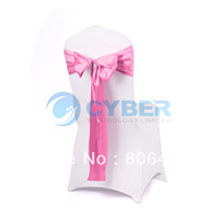 New Satin Fabric Wedding,Banquet 25Pcs Pink Satin Wedding Banquet Chair Cover Sashes Bow Party Decorating 9225