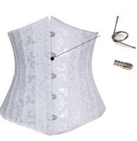 Tops white corset - Women Sexy Spiral Steel Boned Underbust White Corset With Thong Waist Training Shaper Bustier Tops Plus Size S XL