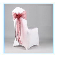 Wholesale Red Orangza Wedding Chair Cover Sash For Wedding Chair Decoration