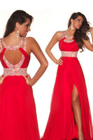 sexy red prom dresses beaded waist high slit chiffon long ev...