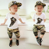 Boy Summer Short wholesale New 2014 summer kids clothing set causal short sleeve t-shirt +camouflage cropped harem pants clothing set