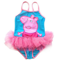 Girl One-piece 3-10T Hot sale 4PCS lots Girls Kids Peppa Pig Swimsuit Swimming Swimwear SZ2-6Y Tulle Bikini Beachwear