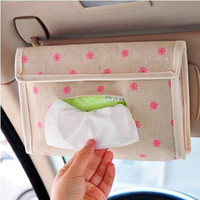 Wholesale Idyllic cotton linen fabric CAR VEHICLE TISSUE BOX BAG Creative storage box bags for car vehicle napkin tissue paper Lovely storage bags