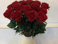 Wholesale NEW cm quot Length Artificial Silk Flowers Simulation Single Flannel Rose Rosebud Red Color Valentine Roses Wedding Flower