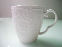 Wholesale 2014 New Mug raised pattern Pure White Set Green high quality Convenient Mug