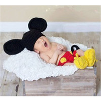 Unisex mickey - Crochet Newborn Baby Costume Infant Knit Mickey Mouse Outfits Photo Props