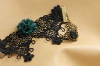 Slap & Snap Bracelets Fashion Bracelets hinestone stone ring with flower black lace bracelets fashion party jewelry freeshipping