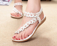 Wholesale Women s Bohemia Style Sweet Flower Soft Outsole Flat Beach Sandals