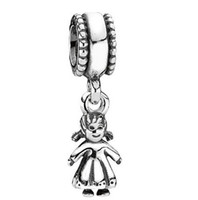 Silver Angel Silver 925 Silver Cute Baby Girls Drop Hanging Charm Beads charms For Pandora