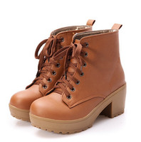 Wholesale 2014 Women Ankle Boots Artificial leather High Heels Lace up Boots new Platform Pumps size bigger XWX447