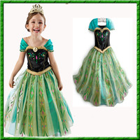 Wholesale 2014 New Summer Baby Girls Dress Frozen Anna Elsa Princess Dress Kids Hot Tutu Skirt Cotton Top And Gauze Hem Children Short Sleeve Dress FS