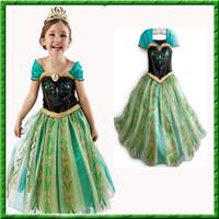 Wholesale DHL Ship New Design Baby Girls Dress Frozen Elsa Anna Princess Dress Kids Tutu Fashion Children Gold Edges Sleeves Green Dress FS GD351