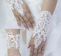 Wholesale 2014 very cheap New Sexy fingerless gloves Wedding Bridal Gloves Accessory Beaded Lace Gloves