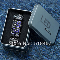 Men's Rectangle 8.89 Hot Fashion Rectangle Face Digital LED Light Display Black Man Stainless Steel Band Wrist Watches+ Gift Metal Box New
