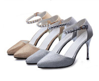 Wholesale Sexy Fashion Woman Rhinestone Pointed Toe High Heels Shoes Wedding Party OL Sandals