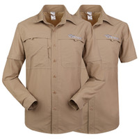 Wholesale Dual function Men Shirts khaki Color Fishing Hiking Shirts Outdoor Anti uv Quick dry Clothes