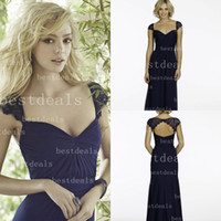 2014 Dark Navy long Bridesmaid Dresses sweetheart Lace Cappe...