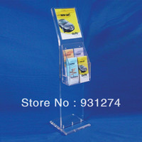 Wholesale Floorstanding Clear Acrylic Display Stand With Sign Holder Standing Commercial Brochure Holder Acrylic Brochure Holder