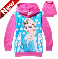Girl Spring / Autumn Hooded 2014 Frozen Baby Girls 2-8Yrs Elsa Anna Princess Hoodie Long Sleeve Terry Hooded Jumper Cartoon Hoodies Outerwear Kids Clothing