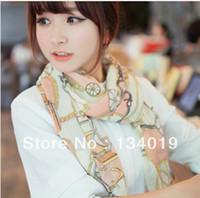 Scarves Yes Print Winter essential, retro small wagon chain pattern, printed shawl silk scarf, wild chiffon scarves, 2pcs