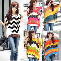 Women Polyester Polo Plus Size Women's Loose Batwing Shirt Multicolour Stripe Tops Oversized Blouses Batwing Chiffon Shirt SV000375 B003