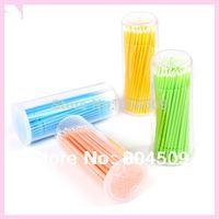 False Eyelash applicator sticks - 200pcs disposable micro brush eyelash extensions remover cotton swab false lashes make up applicator stick