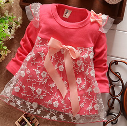 Wholesale 2014 Autumn New Arrival baby girls Dresses Children Clothing cotton Dress kids bowknot Lace princess dress