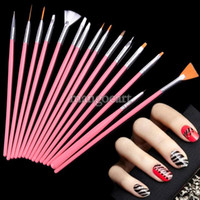 2D  New SV001894# High Hot! Pink 15pcs set Professional acrylic Nail Art Brush Set Design Painting Pen Perfect Tool for naturalg b4 SV001894