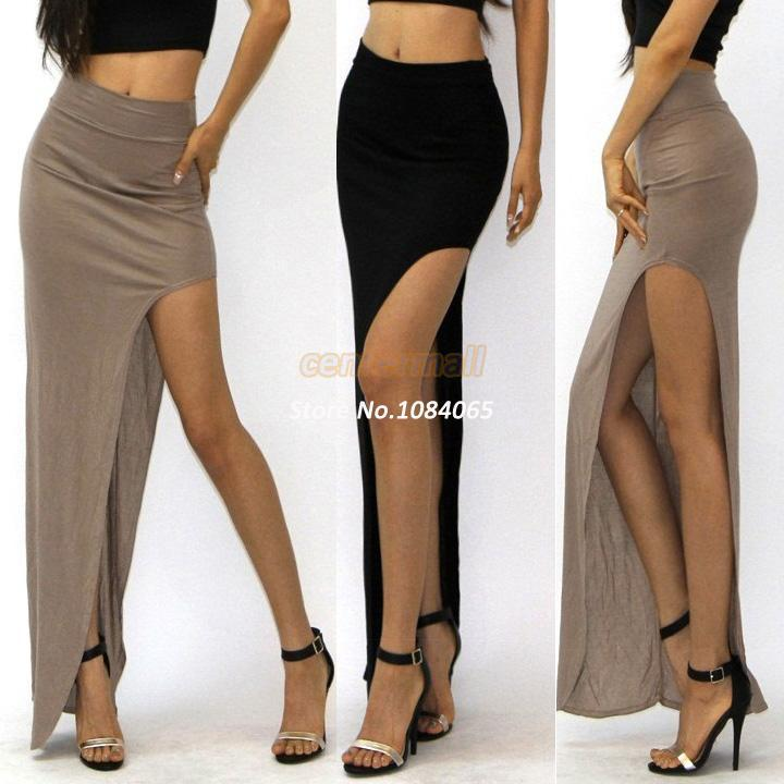 2017 Hot Sexy Womens Open Side Split Skirt Summer Solid Color Long ...