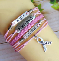 Charm Bracelets man  woman  gril  boy  Alloy Free shipping hope faith believe breast cancer personalized retro fashion personality charm bracelet hand-woven leather bracelet