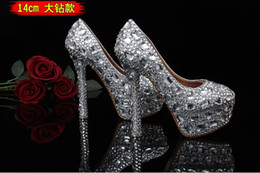 Wholesale 2014 Hot Rhinestones Beaded diamond crystal lady s formal shoes Women s High Heels Bridal Evening Prom Party Wedding shoe Bridesmaid Shoes