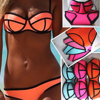 sexy swimwear - neoprene Swimwear Triangl Women s Fashion Neoprene Bikinis Woman New Summer sexy Swimsuit Set bath suit Push Up Bikini Set
