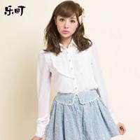 Silk Fashion Regular blouse 2014 Sale Fashion Full Turn-down Collar Solid Silk Batwing Sleeve Autumn Sweet Women's Ladies Slim Long-sleeve Chiffon Top