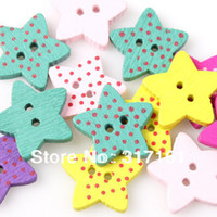 Quilt Accessories Buttons Painting Beautiful 750pcsWholesale Fashion Mixed Painting Wooden Sewing 2-Hole Dots Star shape Buttons Scrapbooking 15*15*3mm 161431