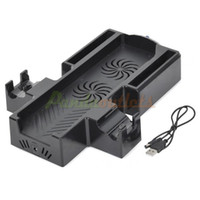 For Xbox   Dual Cooling Fan Controller Charging Docking Station Stand with USB CABLE for Xbox One- Black New 2014 sku#2200938-Retail