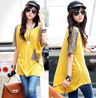 Women Polo Material: ice silk + cotton blend 2014 New Fashion Short Sleeve Cute Wear Leopard Tee Loose Fit ice silk Cotton T-shirt Women Loose Long T-shirt #2 SV002693