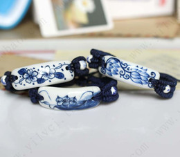 Wholesale Ethnic hand painted blue and white lotus boutique ceramic tiles manufacturers woven bracelet men jewelry dealsnew free shippi